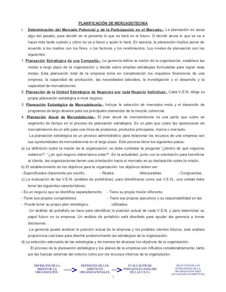 PLANIFICACIÓN DE MERCADOTECNIAI.   Determinación del Mercado Potencial y de la Participación en el Mercado.- La planeación...