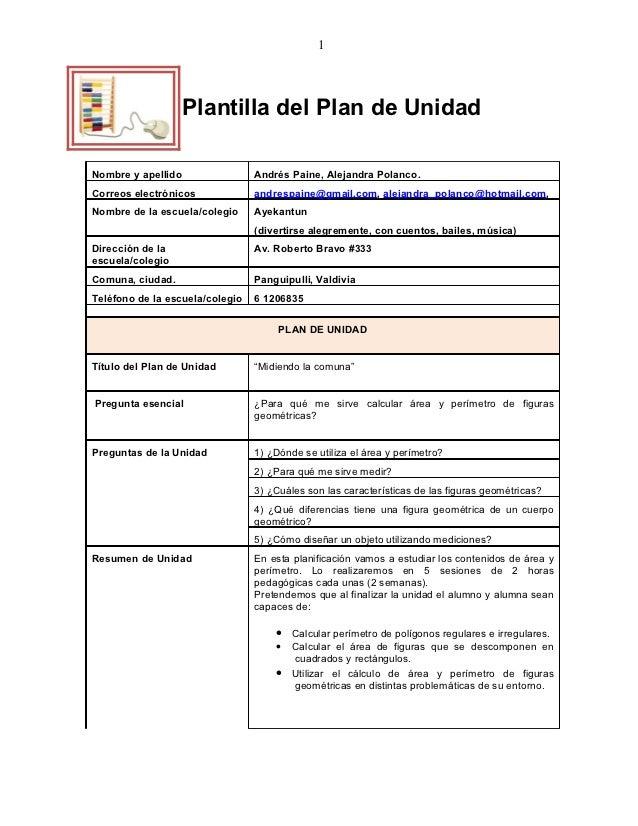 1                  Plantilla del Plan de UnidadNombre y apellido                Andrés Paine, Alejandra Polanco.Correos el...
