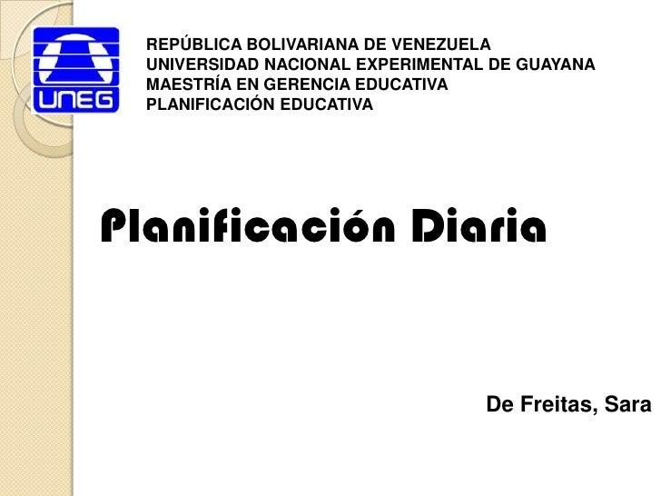 REPÚBLICA BOLIVARIANA DE VENEZUELA<br />UNIVERSIDAD NACIONAL EXPERIMENTAL DE GUAYANA<br />MAESTRÍA EN GERENCIA EDUCATIVA<b...