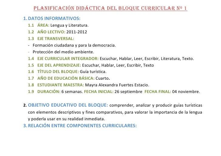 PLANIFICACIÓN DIDÁCTICA DEL BLOQUE CURRICULAR Nº 1<br />DATOS INFORMATIVOS:<br />ÁREA: Lengua y Literatura.<br />AÑO LECTI...