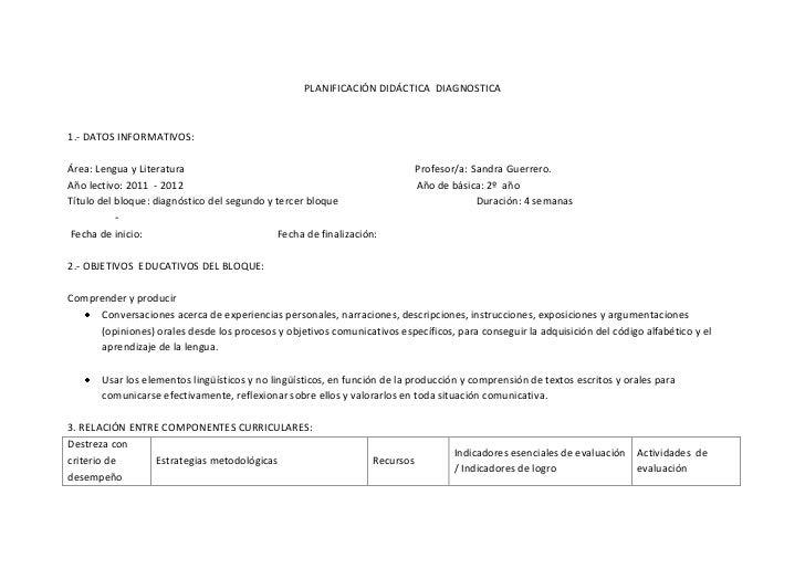PLANIFICACIÓN DIDÁCTICA DIAGNOSTICA1.- DATOS INFORMATIVOS:Área: Lengua y Literatura                                       ...
