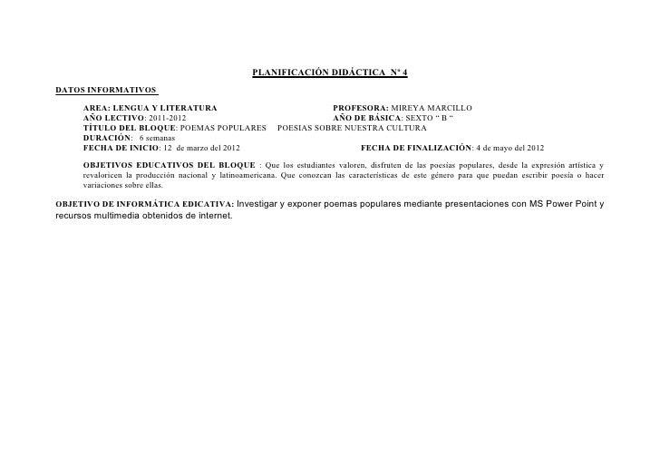 PLANIFICACIÓN DIDÁCTICA Nº 4DATOS INFORMATIVOS      AREA: LENGUA Y LITERATURA                                      PROFESO...