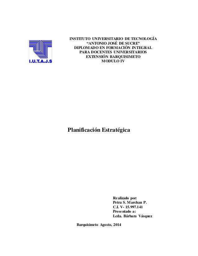 """INSTITUTO UNIVERSITARIO DE TECNOLOGÍA """"ANTONIO JOSÉ DE SUCRE"""" DIPLOMADO EN FORMACIÓN INTEGRAL PARA DOCENTES UNIVERSITARIOS..."""