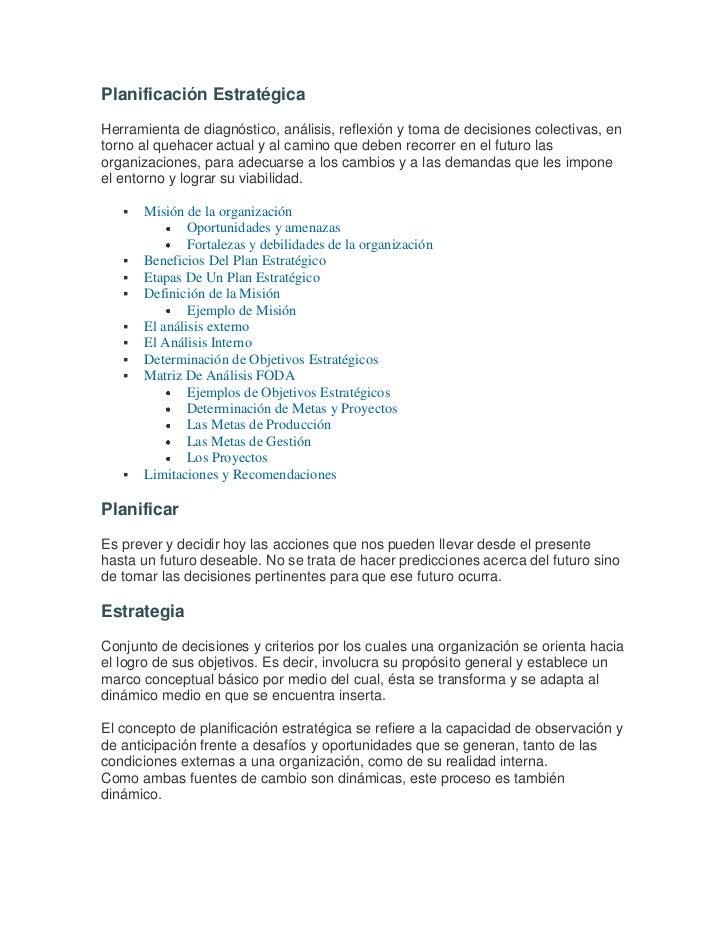 Planificación Estratégica<br />Herramienta de diagnóstico, análisis, reflexión y toma de decisiones colectivas, en torno a...