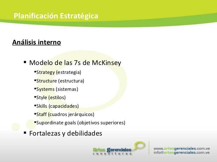 <ul><li>Análisis interno </li></ul><ul><ul><li>Modelo de las 7s de McKinsey </li></ul></ul><ul><ul><ul><li>Strategy (estra...