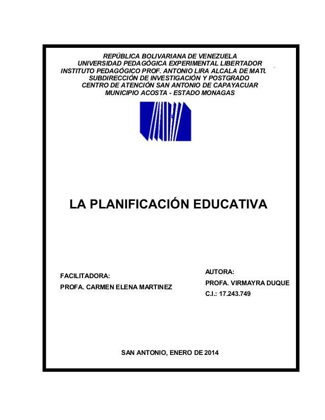 REPÚBLICA BOLIVARIANA DE VENEZUELA UNIVERSIDAD PEDAGÓGICA EXPERIMENTAL LIBERTADOR INSTITUTO PEDAGÓGICO PROF. ANTONIO LIRA ...