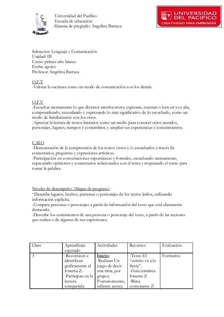 Universidad del Pacífico            Escuela de educación            Alumna de pregrado: Angelina BarrazaSubsector: Lenguaj...