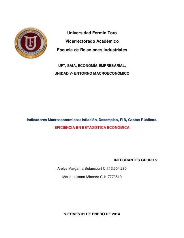 Universidad Fermín Toro Vicerrectorado Académico Escuela de Relaciones Industriales  UFT, SAIA, ECONOMÍA EMPRESARIAL, UNID...