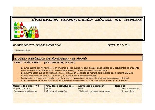 EVALUACIÓN               PLANIFICACIÓN                     MÓDULO DE CIENCIASNOMBRE DOCENTE: BENILDE ZÚÑIGA BEAS          ...