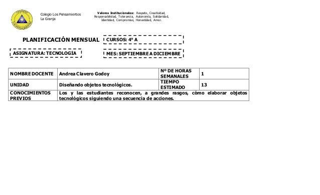 PLANIFICACIÓN MENSUAL NOMBRE DOCENTE Andrea Clavero Godoy Nº DE HORAS SEMANALES 1 UNIDAD Diseñando objetos tecnológicos. T...