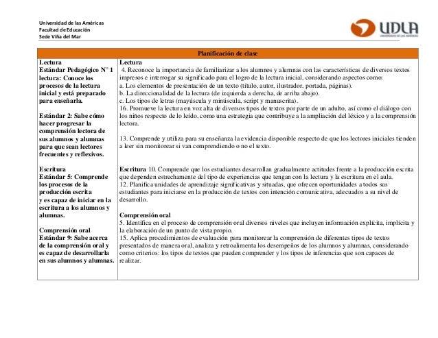 Universidad de las Américas Facultad de Educación Sede Viña del Mar Planificación de clase Lectura Estándar Pedagógico N° ...