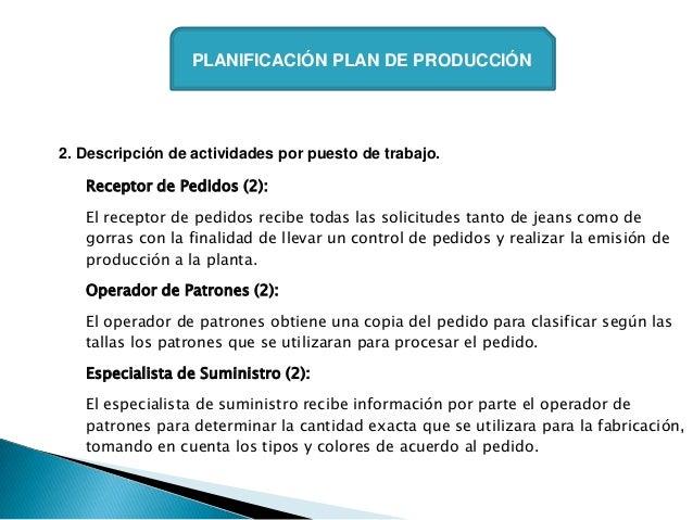 PLANIFICACIÓN PLAN DE PRODUCCIÓN2. Descripción de actividades por puesto de trabajo.   Receptor de Pedidos (2):   El recep...
