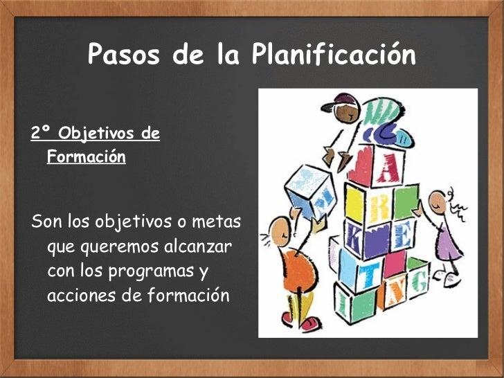 Pasos de la Planificación 2º Objetivos de Formación Son los objetivos o metas  que queremos alcanzar con  los programas y ...