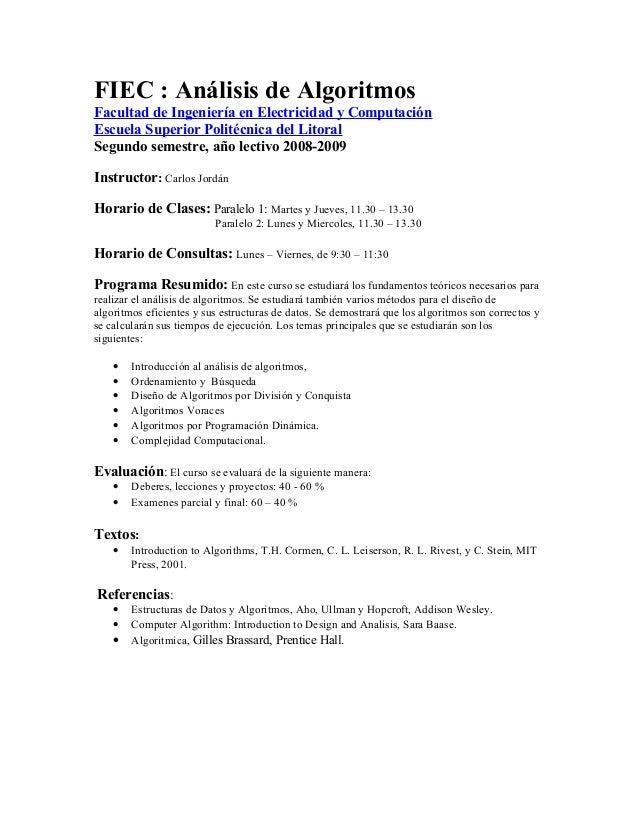 FIEC : Análisis de Algoritmos Facultad de Ingeniería en Electricidad y Computación Escuela Superior Politécnica del Litora...