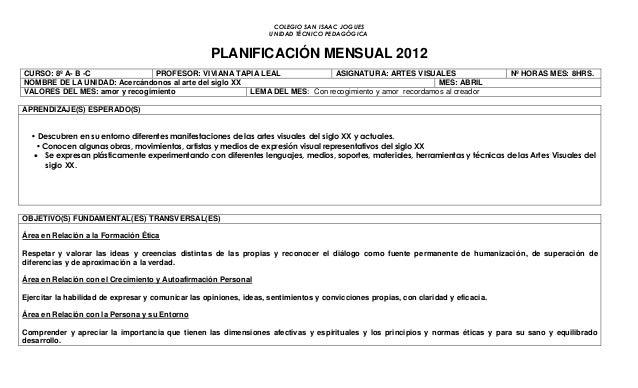 COLEGIO SAN ISAAC JOGUES UNIDAD TÉCNICO PEDAGÓGICA PLANIFICACIÓN MENSUAL 2012 CURSO: 8º A- B -C PROFESOR: VIVIANA TAPIA LE...