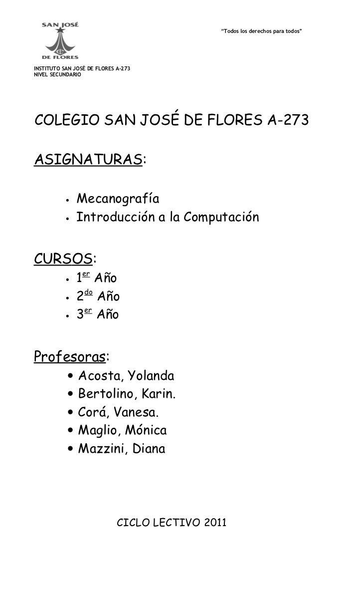"""""""Todos los derechos para todos""""INSTITUTO SAN JOSÉ DE FLORES A-273NIVEL SECUNDARIOCOLEGIO SAN JOSÉ DE FLORES A-273ASIGNATUR..."""