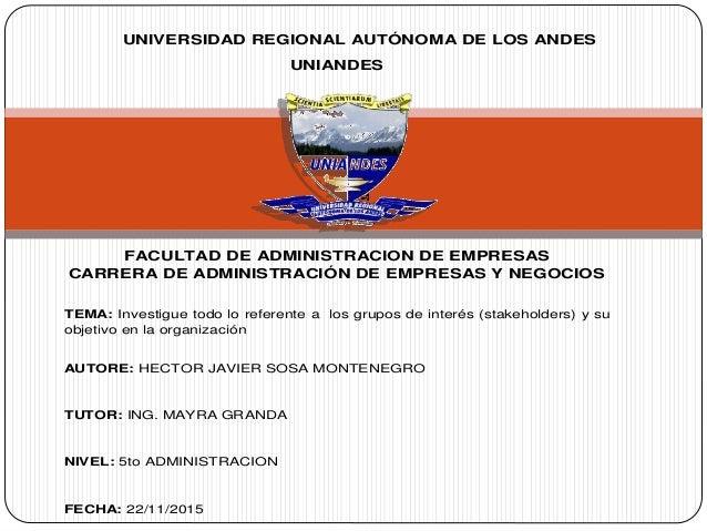 UNIVERSIDAD REGIONAL AUTÓNOMA DE LOS ANDES UNIANDES FACULTAD DE ADMINISTRACION DE EMPRESAS CARRERA DE ADMINISTRACIÓN DE EM...