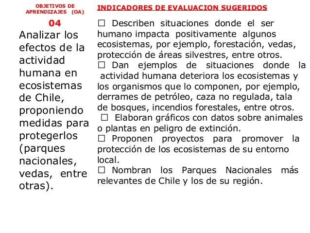 OBJETIVOS DE     INDICADORES DE EVALUACION SUGERIDOS APRENDIZAJES (OA)       04      Describen situaciones donde el serAn...
