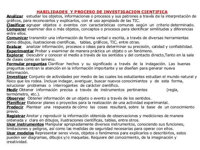 HABILIDADES Y PROCESO DE INVESTIGACION CIENTIFICAAnalizar estudiar los objetos, informaciones o procesos y sus patrones a ...