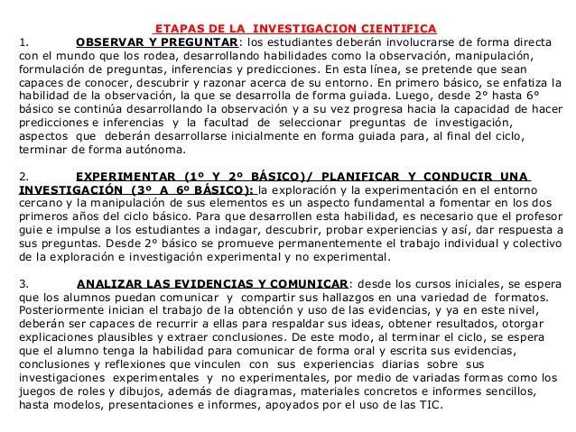 ETAPAS DE LA INVESTIGACION CIENTIFICA1.        OBSERVAR Y PREGUNTAR: los estudiantes deberán involucrarse de forma directa...