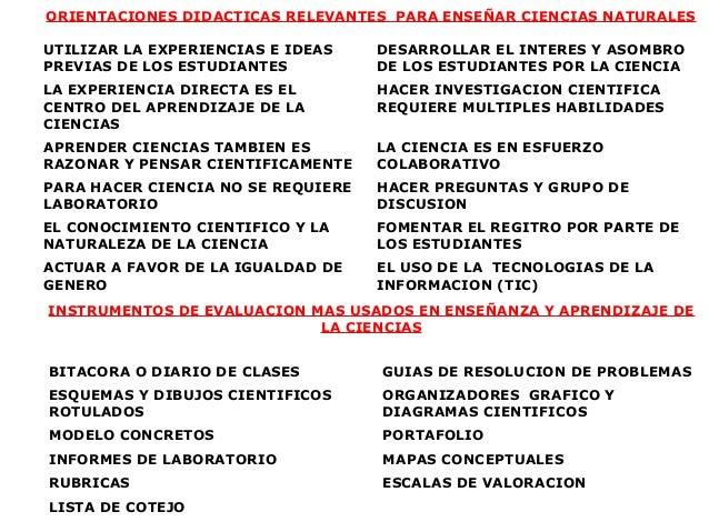 ORIENTACIONES DIDACTICAS RELEVANTES PARA ENSEÑAR CIENCIAS NATURALESUTILIZAR LA EXPERIENCIAS E IDEAS    DESARROLLAR EL INTE...