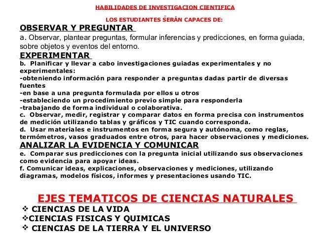 HABILIDADES DE INVESTIGACION CIENTIFICA                          LOS ESTUDIANTES SERÁN CAPACES DE:OBSERVAR Y PREGUNTARa.O...