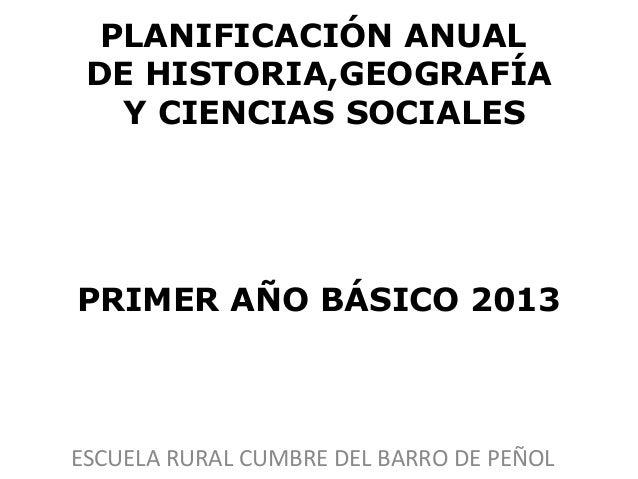PLANIFICACIÓN ANUAL DE HISTORIA,GEOGRAFÍA   Y CIENCIAS SOCIALESPRIMER AÑO BÁSICO 2013ESCUELA RURAL CUMBRE DEL BARRO DE PEÑOL