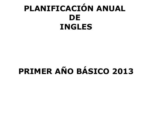 PLANIFICACIÓN ANUAL          DE        INGLESPRIMER AÑO BÁSICO 2013