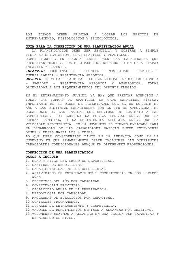 LOS MISMOS DEBEN APUNTAR A LOGRAR LOS EFECTOS DE ENTRENAMIENTO, FISIOLOGICOS Y PSICOLOGICOS. GUIA PARA LA CONFECCION DE UN...