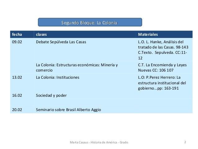 Marta Casaus - Historia de América - Grado 2 fecha clases Materiales 09.02 Debate Sepúlveda Las Casas L.O. L. Hanke, Análi...