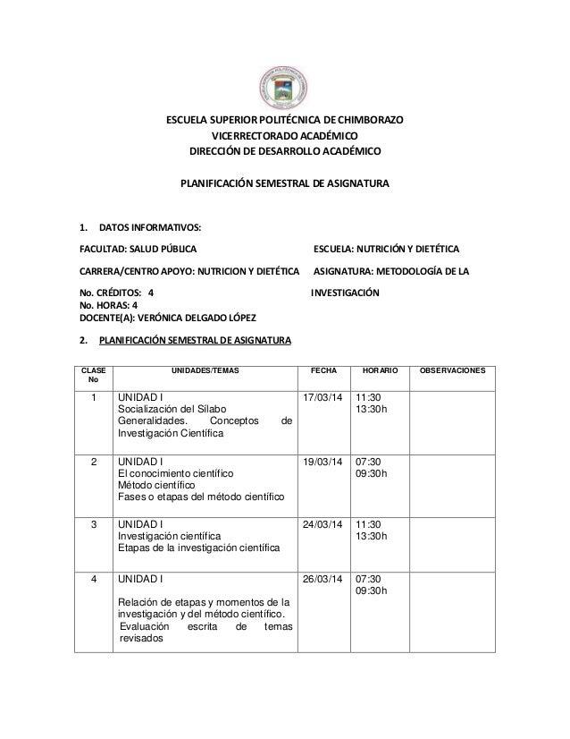 ESCUELA SUPERIOR POLITÉCNICA DE CHIMBORAZO VICERRECTORADO ACADÉMICO DIRECCIÓN DE DESARROLLO ACADÉMICO PLANIFICACIÓN SEMEST...