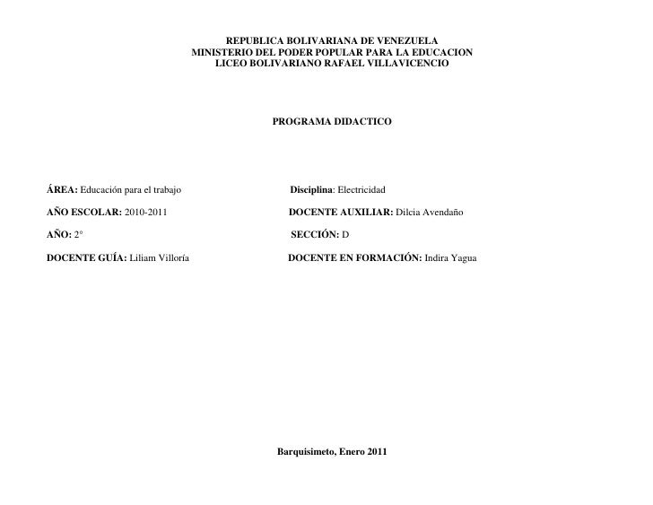 REPUBLICA BOLIVARIANA DE VENEZUELA<br />MINISTERIO DEL PODER POPULAR PARA LA EDUCACION <br />LICEO BOLIVARIANO RAFAEL VILL...