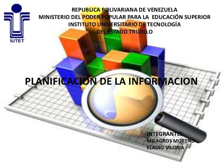 REPUBLICA BOLIVARIANA DE VENEZUELA  MINISTERIO DEL PODER POPULAR PARA LA EDUCACIÓN SUPERIOR            INSTITUTO UNIVERSIT...