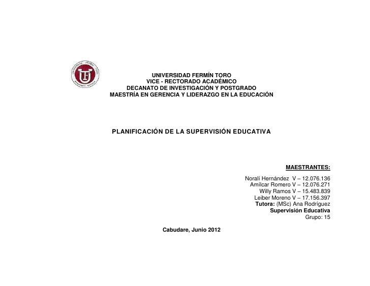 UNIVERSIDAD FERMÍN TORO           VICE - RECTORADO ACADÉMICO    DECANATO DE INVESTIGACIÓN Y POSTGRADOMAESTRÍA EN GERENCIA ...