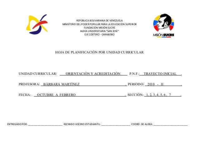 REPÙBLICA BOLIVARIANA DE VENEZUELA MINISTERIO DEL PODER POPULAR PARA LA EDUCACIÒN SUPERIOR FUNDACIÒN MISIÒN SUCRE ALDEA UN...