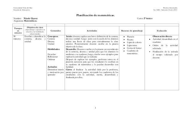 Universidad Viña del Mar Práctica Intermedia Escuela de Educación 3ro. EBA Semestre Otoño 2013 1 Planificación de matemáti...
