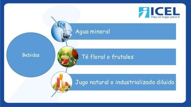 Agua mineral Té floral o frutales Jugo natural o industrializado diluido Bebidas