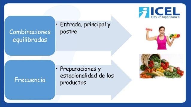 • Entrada, principal y postreCombinaciones equilibradas • Preparaciones y estacionalidad de los productosFrecuencia