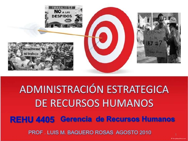 ADMINISTRACIÓN ESTRATEGICA  DE RECURSOS HUMANOS<br />1<br />REHU 4405<br />Gerenciade RecursosHumanos<br />PROF . LUIS M. ...