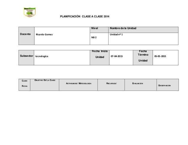 PLANIFICACIÓN CLASE A CLASE 2014 Docente Ricardo Gomez Nivel Nombre de la Unidad NB 2 Unidadnº 1 Subsector tecnologica Fec...