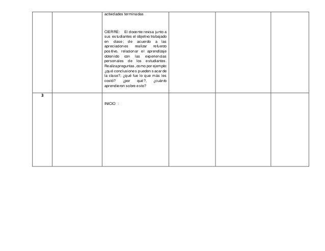 actividades terminadas CIERRE: El docente revisa junto a sus estudiantes el objetivo trabajado en clase; de acuerdo a las ...