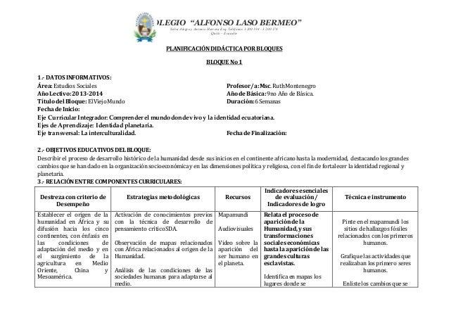 """COLEGIO """"ALFONSO LASO BERMEO""""  Selva Alegre y Antonio Herrera Esq. Teléfonos 3 200 194 - 3 200 176  Quito – Ecuador  PLANI..."""