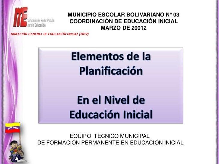 MUNICIPIO ESCOLAR BOLIVARIANO Nº 03                                COORDINACIÓN DE EDUCACIÓN INICIAL                      ...