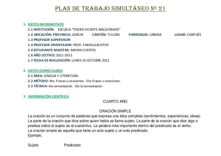 """PLAN DE TRABAJO SIMULTÁNEO Nº 211. DATOS INFORMATIVOS   1.1 INSTITUCIÓN: ESCUELA """"PEDRO VICENTE MALDONADO""""   1.2 UBICACIÓN..."""