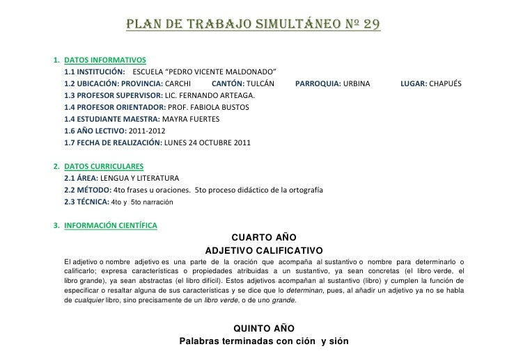 """PLAN DE TRABAJO SIMULTÁNEO Nº 291. DATOS INFORMATIVOS   1.1 INSTITUCIÓN: ESCUELA """"PEDRO VICENTE MALDONADO""""   1.2 UBICACIÓN..."""