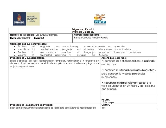szcmum 35 EDUCACION sua  Y CULTURA     SINALOA  n uuu u Hanoi     Asignatura:  Español.   Proyecto Didáctico.  Nombre dela...