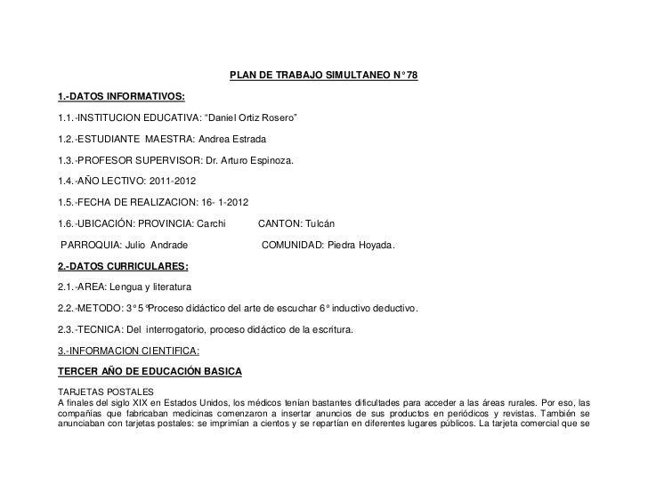 """PLAN DE TRABAJO SIMULTANEO N° 781.-DATOS INFORMATIVOS:1.1.-INSTITUCION EDUCATIVA: """"Daniel Ortiz Rosero""""1.2.-ESTUDIANTE MAE..."""