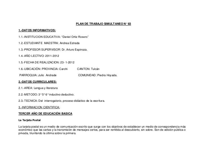 """PLAN DE TRABAJO SIMULTANEO N° 831.-DATOS INFORMATIVOS:1.1.-INSTITUCION EDUCATIVA: """"Daniel Ortiz Rosero""""1.2.-ESTUDIANTE MAE..."""