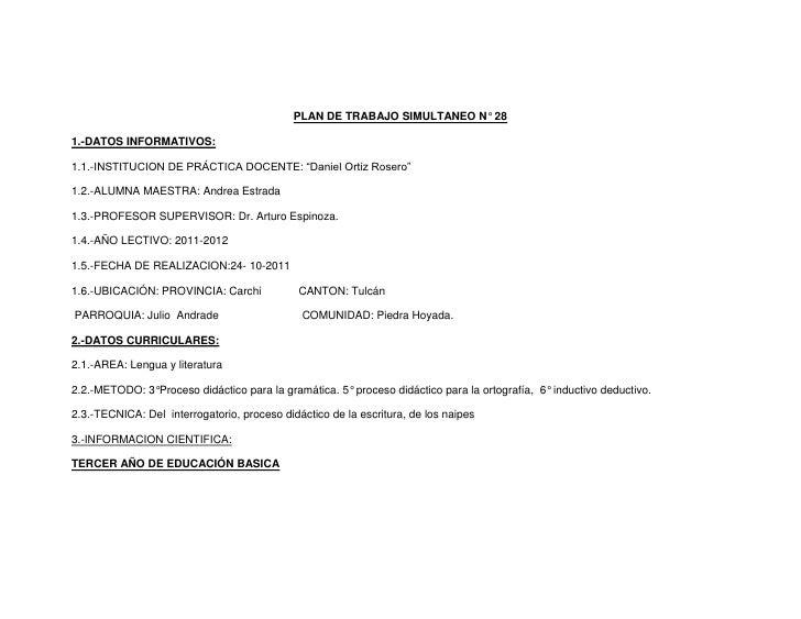 """PLAN DE TRABAJO SIMULTANEO N° 281.-DATOS INFORMATIVOS:1.1.-INSTITUCION DE PRÁCTICA DOCENTE: """"Daniel Ortiz Rosero""""1.2.-ALUM..."""