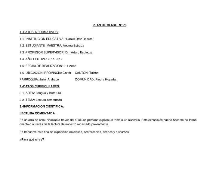"""PLAN DE CLASE N° 731.-DATOS INFORMATIVOS:1.1.-INSTITUCION EDUCATIVA: """"Daniel Ortiz Rosero""""1.2. ESTUDIANTE MAESTRA: Andrea ..."""